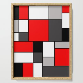 Red Black and Grey squares Serving Tray