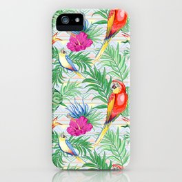 Macaws Parrots Exotic Birds on Tropical Flowers and Leaves iPhone Case