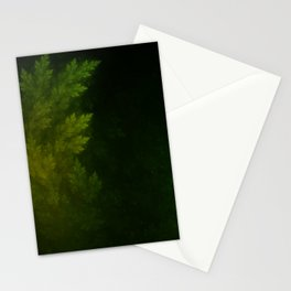 Beautiful Fractal Pines in the Misty Spring Night Stationery Cards