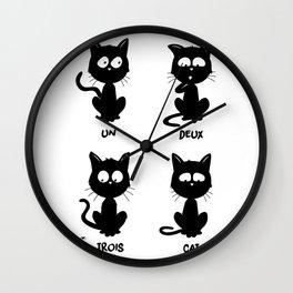 Un, deux, trois, cat Wall Clock
