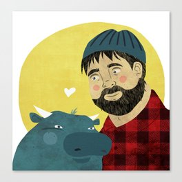 Paul Bunyan and Babe Canvas Print