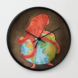 Octopus and Earth Wall Clock