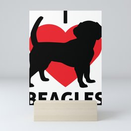 Animals I Love Beagles Dog Lover Mini Art Print