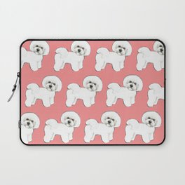 Bichon Frise on coral Laptop Sleeve