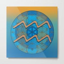 AQUARIUS Flower of Life Astrology Design Metal Print