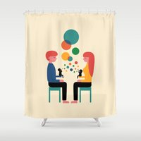 child Shower Curtains featuring Soul Communication by Andy Westface