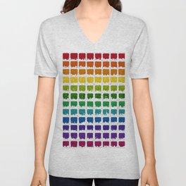 Iced Rainbow Chex Unisex V-Neck