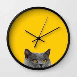 British Short-haired Cat Saffron Yellow Home Decor Pet Lovers Art Grey British Wall Clock