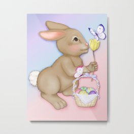 Brown Bunny and Basket Metal Print