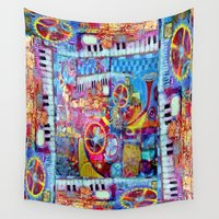steam punk Wall Tapestries featuring Abstract Steam Punk Music Collage by SharlesArt