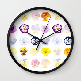 colorful pansies watercolor painting Wall Clock
