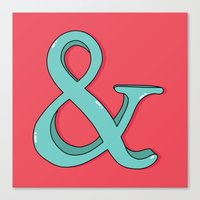 ampersand Canvas Prints featuring Ampersand by Chelsea Herrick