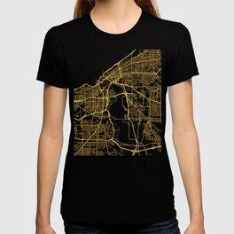 CLEVELAND OHIO CITY STREET MAP ART T-shirt