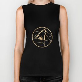 Geometric Wolf Golden Black Biker Tank