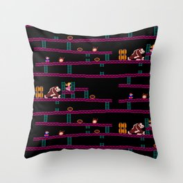 Donkey Kong Retro Arcade Gaming Design Throw Pillow