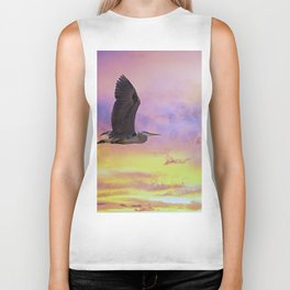 Heron Flying at Sunset Biker Tank