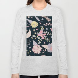 Modern soft pastel spring floral pattern on navy blue Long Sleeve T-shirt