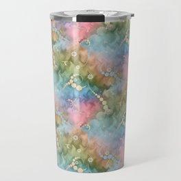 Satin Rainbow Pastel Floral Travel Mug