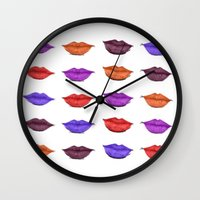 lipstick Wall Clocks featuring Lipstick by Young Clerks