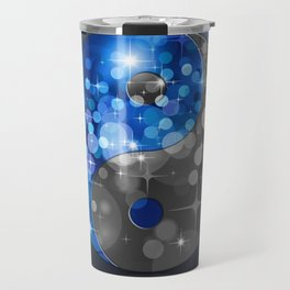 YIN & YANG Stars in blue black Travel Mug