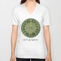 calendar V-neck T-shirts featuring Mayan Calendar 2012 by Bob Pestana