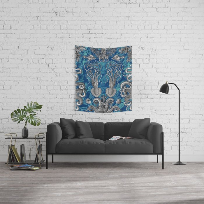 The Kraken (Blue - No Text) Wall Tapestry