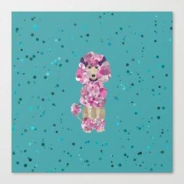 Fun Paint Splatter Poodle on Teal Canvas Print