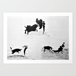Bulls and bullfighters of Picasso IV Art Print