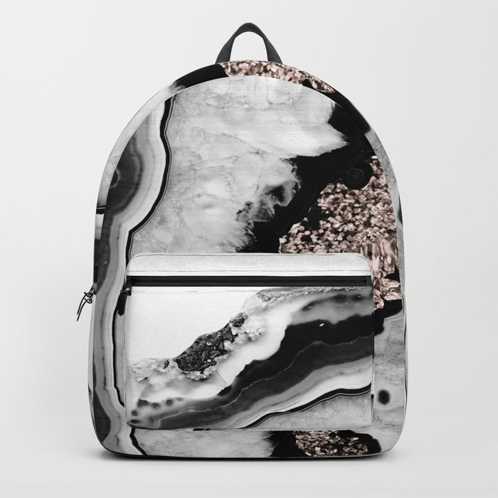 Gray Black White Agate with Rose Gold Glitter #1 #gem #decor #art #society6 Rucksack