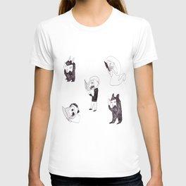 horror readers & fluffy monsters T-shirt