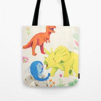 dinosaurs Tote Bags featuring Dinosaurs by Maria Garcia