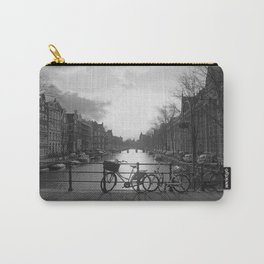 Biking in Amsterdam #blackandwhite#amsterdam Carry-All Pouch