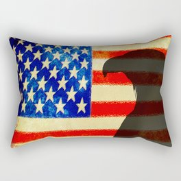 US flag with silhouette Bald Eagle Rectangular Pillow