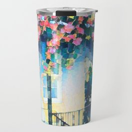 Old Porch of Pink and Teal by CheyAnne Sexton Travel Mug