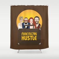 movie poster Shower Curtains featuring American Hustle Movie Poster by Gary  Ralphs Illustrations