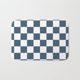 Dusky Blue Checkers Pattern Bath Mat