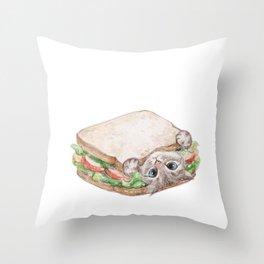 Sandwich cat Throw Pillow