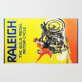 Raleigh Motorcycle, vintage poster Rug