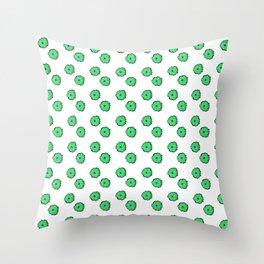 Green flowers on white Throw Pillow
