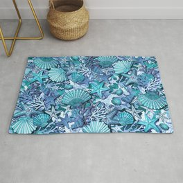 starfish, seashell and coral reef in turquoise blue watercolor Rug