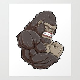 Gorilla At The Gym   Fitness Training Muscles Art Print