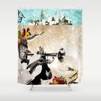 jazz Shower Curtains featuring Jazz  by Design4u Studio