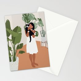 Plant lady and her cat Stationery Cards
