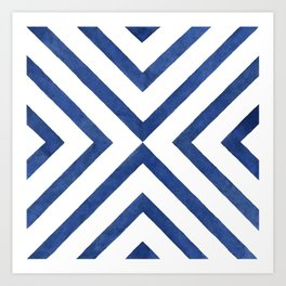 Geometrical modern navy blue watercolor abstract pattern Art Print
