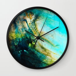 STORMY TEAL ABSTRACT PAINTING Wall Clock
