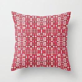 Lush Elegant Red Ink Boho Batik Print Throw Pillow