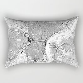 Philadelphia White Map Rectangular Pillow