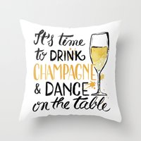 champagne Throw Pillows featuring champagne by desfigure