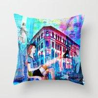 women Throw Pillows featuring Women by Ganech joe