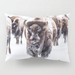 Bison Herd Through The Snow Pillow Sham